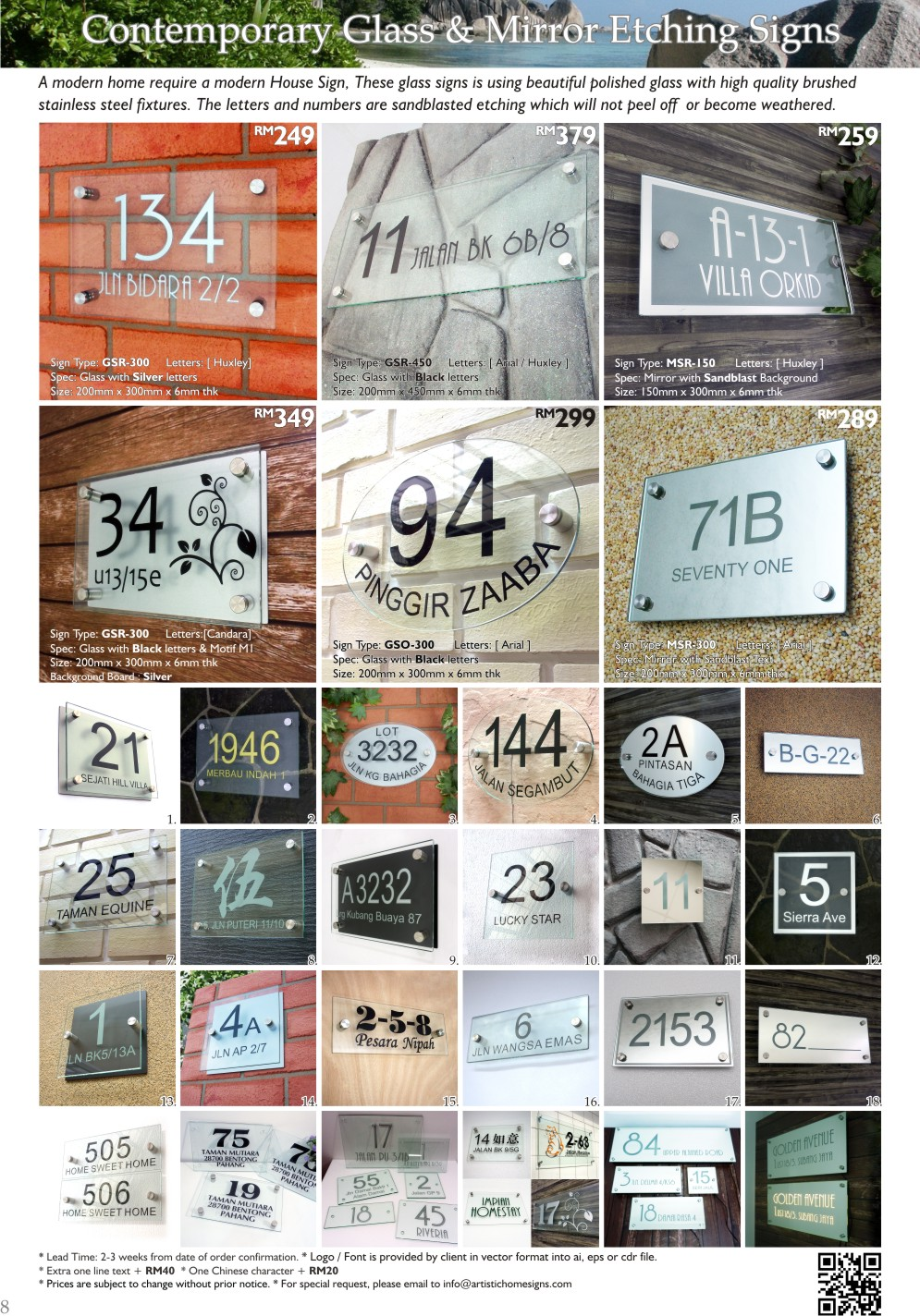 Contemporary Glass & Mirror Etching House Address Signs Made In Malaysia